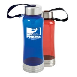 Sleek Polycarb Bottle w/ Attached Lid - 18 oz.