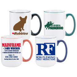 Color Tipped Mugs - 15oz
