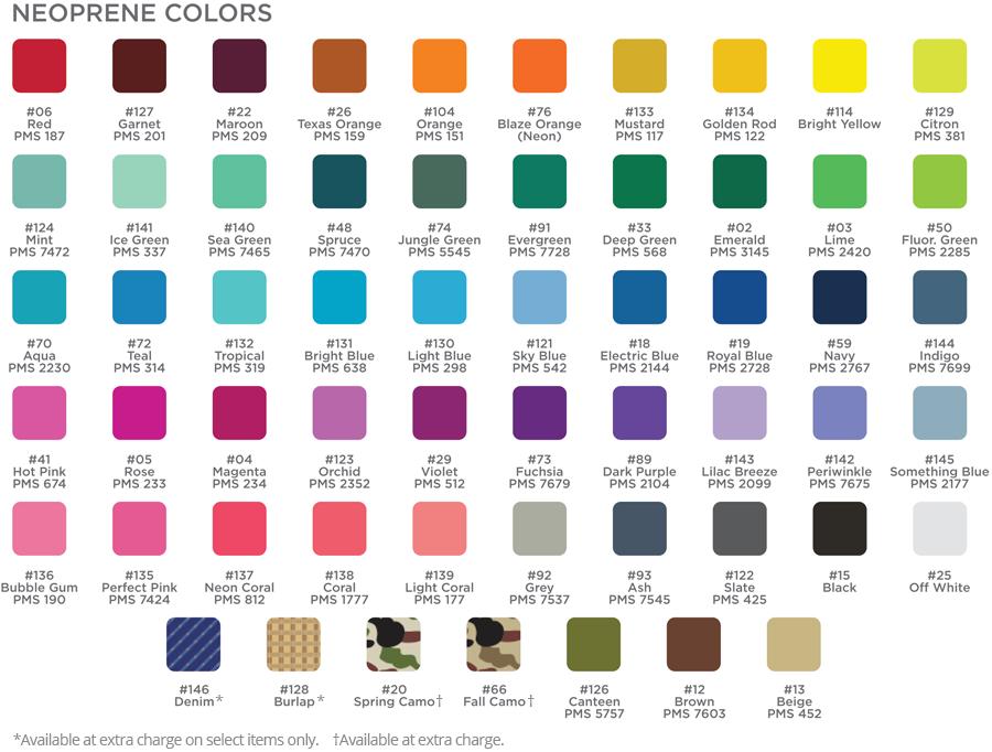 neoprene color chart